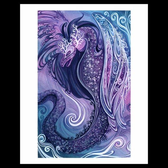 flying feathered dragon illustration art print